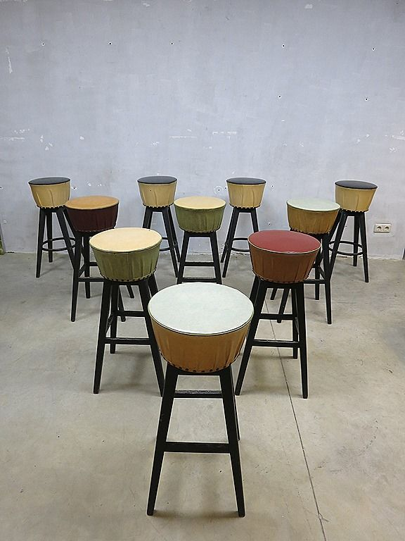 Fifties bar stools 'moulin rouge' vintage bar stool, partij vintage industriële bar krukken ( 10 stuks )  