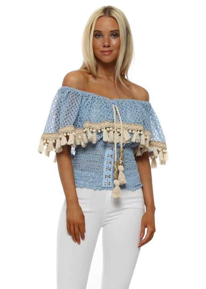 c8185ec8985df9 Blue and Gold Lace Bardot Milan Top. Laurie  amp  Joe ...
