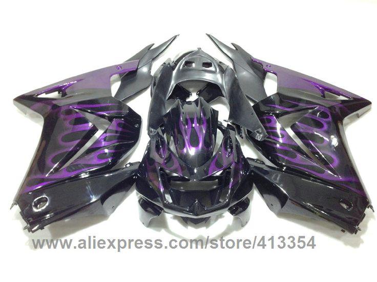 (344.89$)  Buy here  - Hot sale fairings for Kawasaki injection Ninja 250R 08 09 10 11 12 13 14  purple flames black fairing kit EX250 2008-2014 KJ74