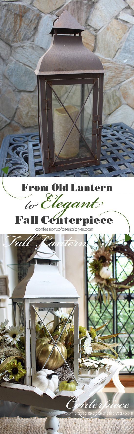 Turn a lantern into an elegant centerpiece for Fall from…