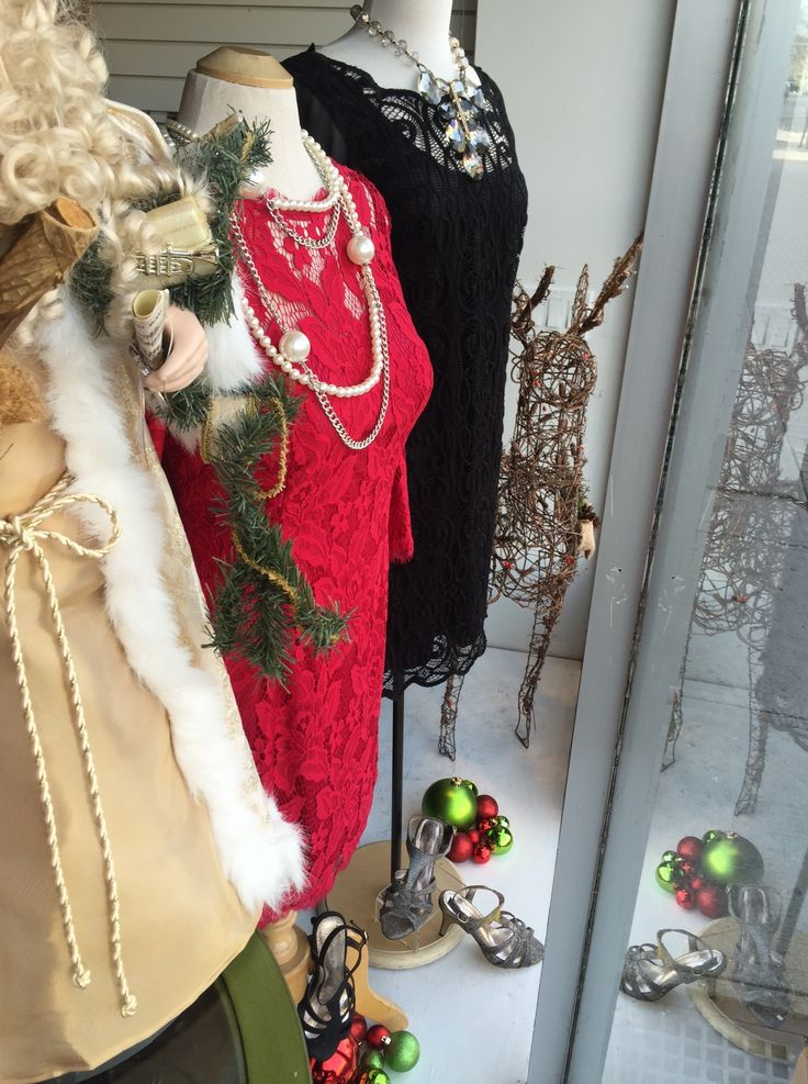 Beautiful holiday dresses in red lace or black lace  Just above the knee.  Very sexy, very flattering By Adrianna Papell  Pair with black or silver pumps by Portia and unique jewelry found at our boutique to complete the look.  Find these at Brittany N Bros in downtown Lindsay, Ontario.  Look for brittanynbros on Facebook & Twitter and sign up for our newsletter at http://www.brittanyandbros.com