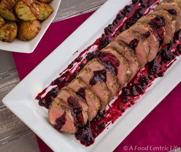 Roast pork tenderloin with blackberry-wine sauce. Easy and elegant. The sauce is great with salmon too.