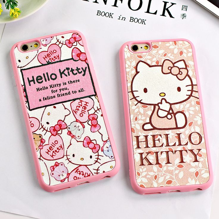 Cute Cartoon Hello Kitty Rubber Silicone Case for iphone 6 6s Plus 5 5S SE Silk Pattern Leather Cover Phone Cases for iphpne