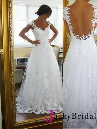 2014 White A Line Sweetheart Capped Strap Backless Lace Tulle Wedding Dresses Bridal Gowns  AHT0004