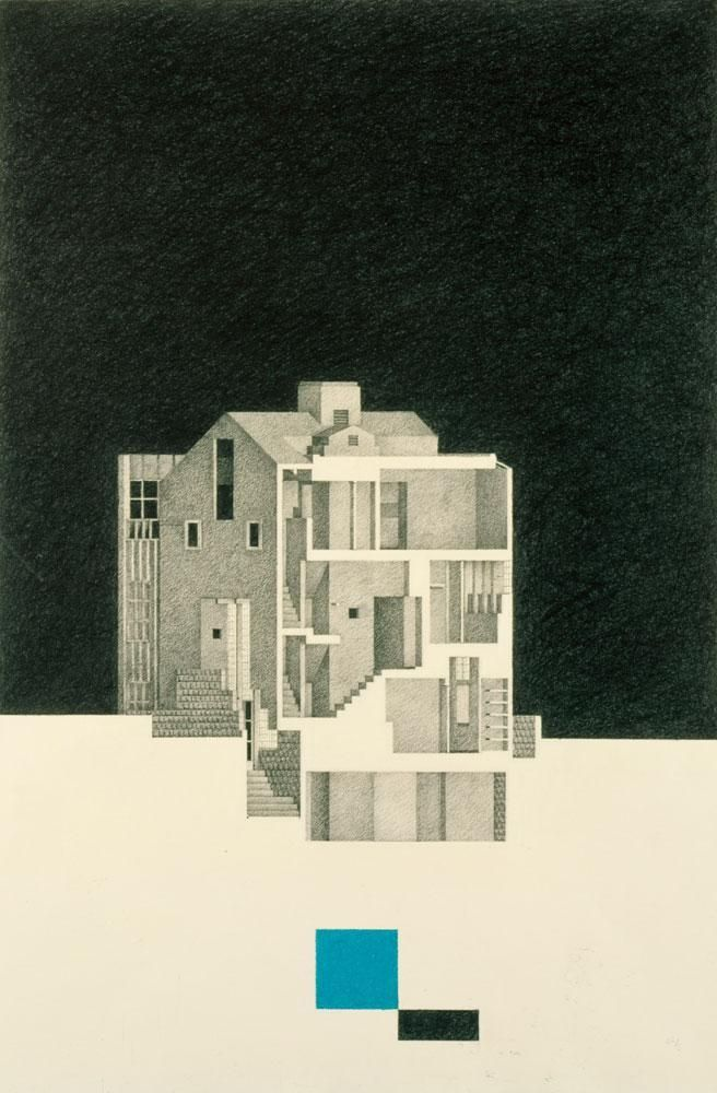 Lawrence Residence, 1980  Graphite and colored pencil on Strathmore