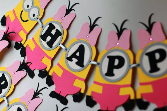 Hey, I found this really awesome Etsy listing at https://www.etsy.com/listing/237143807/minions-inspired-girl-birthday-banner