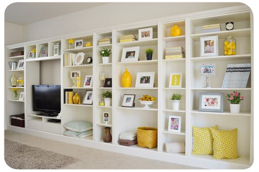 ikea 39 s billy bookshelves as built in decoraci n sal n. Black Bedroom Furniture Sets. Home Design Ideas