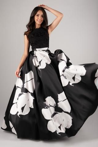 58f05442440 This modest prom dress is all about bold patterns! Those large florals are  tempered by.