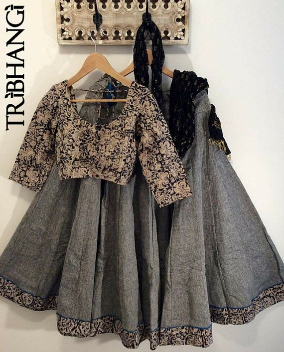 Kalamkari grey and earth tones with a hint of blue by Tribhangi