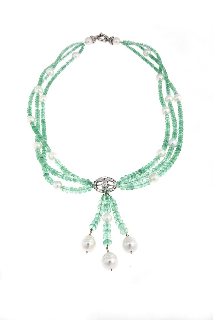 Troy O'Brien Fine Jewellery's Envy on the Rocks! Natural emerald and South Sea pearl beaded necklace with diamond set white gold feature bead