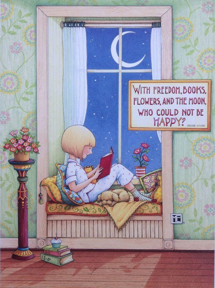 Leyendo a la luz de la Luna ( Mary Englebreit)