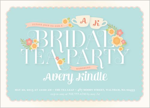 bridal tea party 5x7 stationery card by pottsdesign