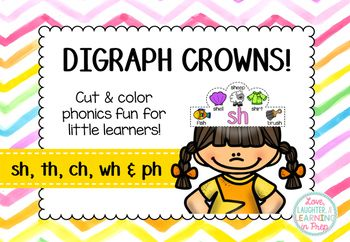 These digraph crowns are the perfect way to provide your little learners with some hands on phonics fun! Each crown features pictures and words with the digraphs /ch/, /sh/, /th/, /wh/ & /ph/ as both the beginning and ending sound.   Children simply color, cut & paste to assemble their crown and wear it with pride!