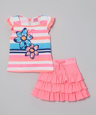 This Pink Rhinestone Stripe Top & Skirt - Infant, Toddler & Girls by Diva is perfect! #zulilyfinds