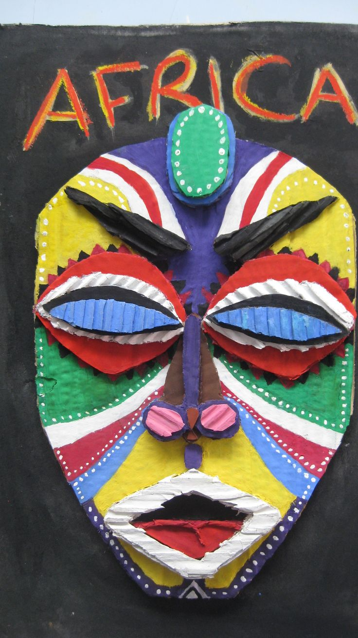 Lovely cardboard mask made from layering of cardboards for theme Africa #cardboard_crafts_mask