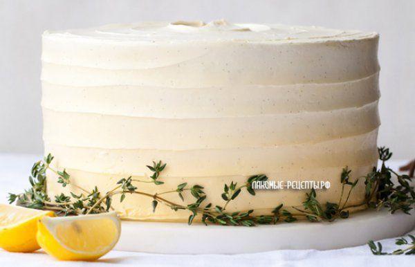 Лимонный торт с лимонным курдом и швейцарским безе