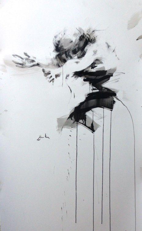 danse - Peinture,  80x120 cm ©2016 par ewah -                                            Peinture contemporaine, Papier, ewa hauton, ink painting, dancer, dance in painting