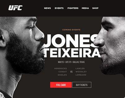 Proposal for a new visual concept design to UFC official website •  2013.