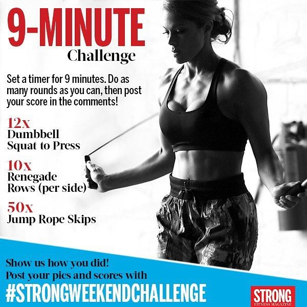You'll need a skipping rope a stopwatch a pair of dumbbells.. and maybe a puke bucket. #strongweekendchallenge #strongwomen #fitnesschallenge #strongfitnessmag by strongfitnessmag