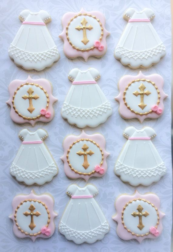 Christening Gown and Cross Cookies -Two Dozen Decorated Sugar Cookies