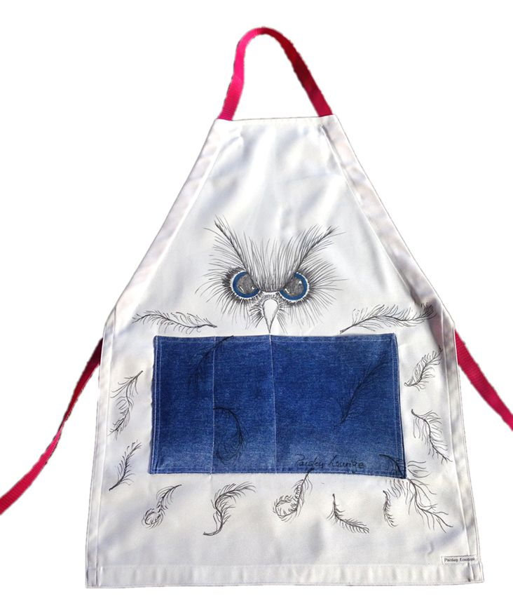Owl BBQ unisex apron - hand painted