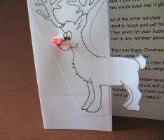 Leuke kerstkaart maken van Rudolf de rendier met een neusje als led lampje!