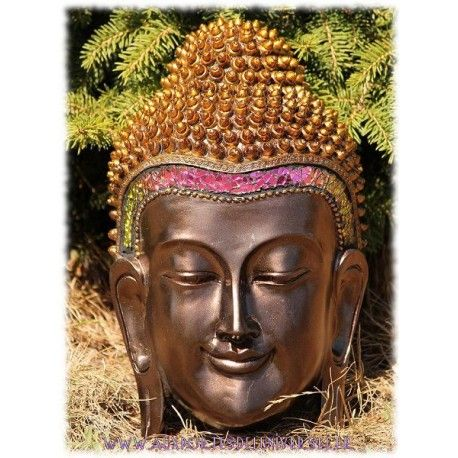 Plaque murale bouddha thaï verre craquelé disponible sur la boutique ésotérique en ligne Aux Portes de l'Universel