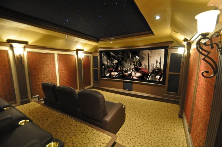 Custom home theater Dallas, TX. Traditional media room design. Red and gold home theater.