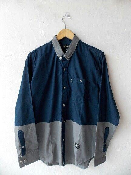 "Navy blue grey ""OS.04.14.1004"" longshirt Olten - Rp210.000"