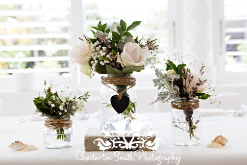 www.chestertonsmith.com Rustic Wedding Flowers with Vintage Jars & Books