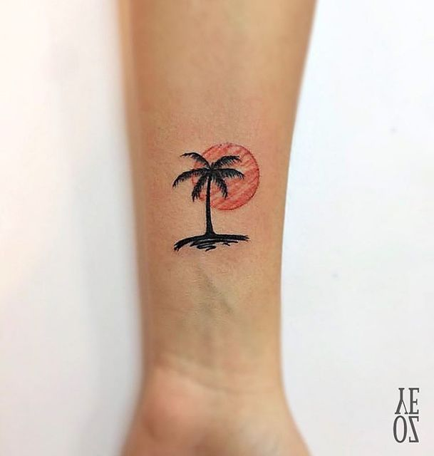 small tattoo palm sunset                                                       …