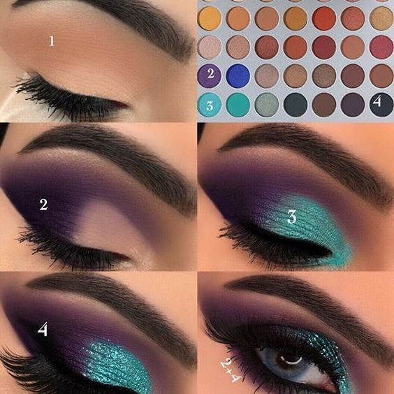 Unique Purple And Green Eye Shadow Makeup Tutorial #dramaticeyemakeup