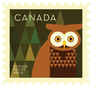 'Owl' Dale Nigel Goble stamp design for Canada Post.  Via Canadian Design Resource.