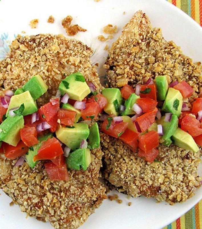 Crunchy Tortilla Chicken With Avocado Salsa Recipe — Dishmaps