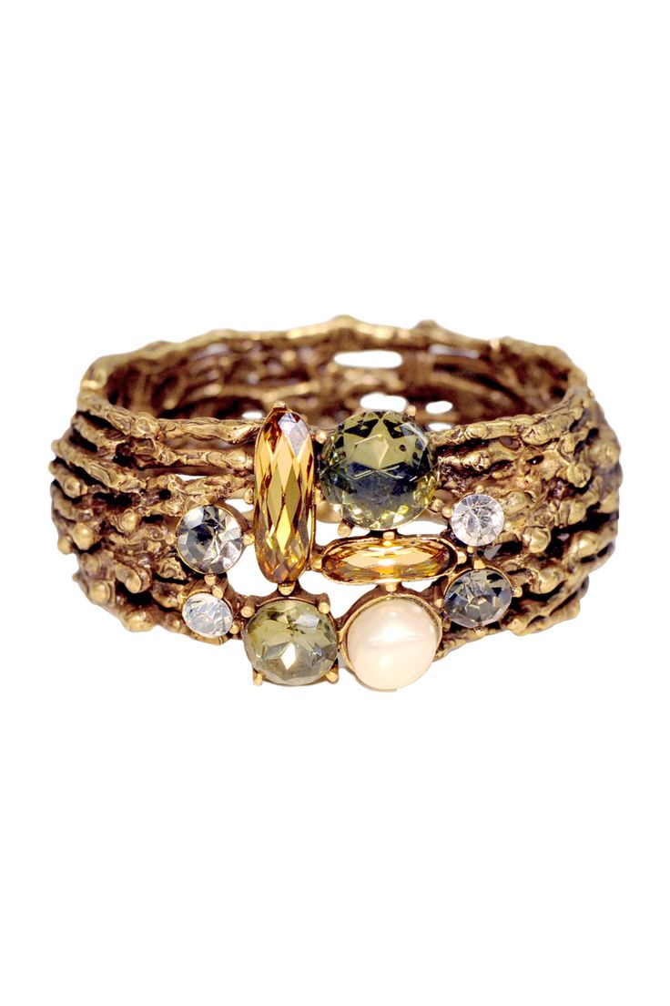 Oscar de la Renta Jeweled Champagne Branch Cuff
