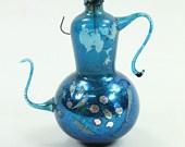 Vintage Blue Mercury Glass Teapot Figural Christmas Ornament