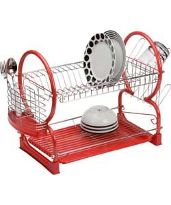 Living 2 Tier Dish Rack - Red.