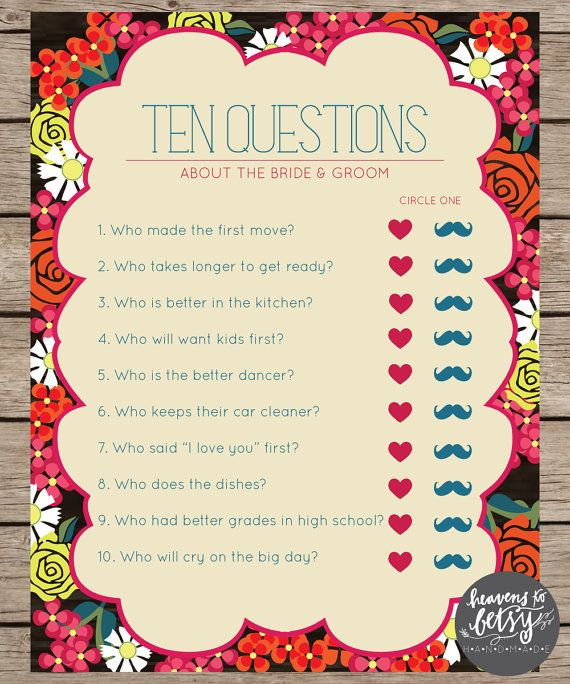 Fiesta Floral Ten Questions Bridal Shower & Wedding Game INSTANT DOWNLOAD by HTBHandmade