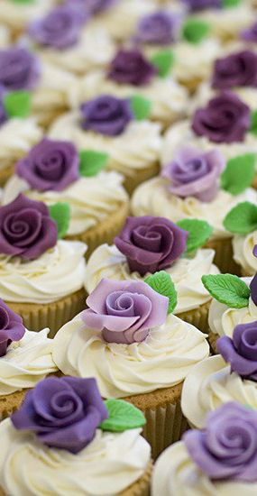 Wedding ● Dessert ● Cupcakes with purple flowers but replace the green leaves with autumn leaves