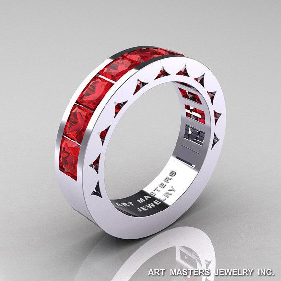 Mens Modern 14K White Gold Princess Rubies Channel by artmasters, $1599.00