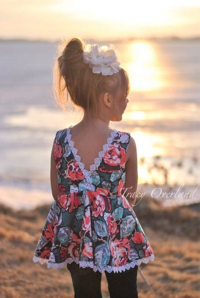 Ayda's V Back Peplum Top & Dress with Sleeves. PDF sewing patterns for girls sizes 2t-12 - Simple Life Company