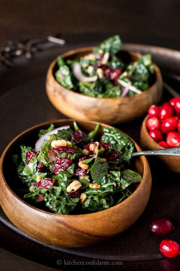 Cranberry Walnut Kale Salad with Fresh Cranberry Vinaigrette >> Wonderful salad to start the meal.