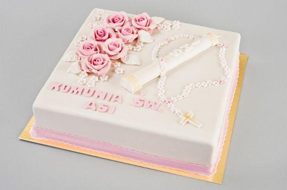 Tort Komunijny świeca Porcja 14 – waga 1300g- 1700g Porcja 18 – waga 1800g- 2300g Porcja 24 – waga 2400g- 3000g