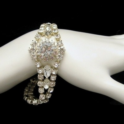 This gorgeous bracelet is wonderful for a wedding: CZECH Glass Rhinestones Vintage Bracelet Beautiful Sparkling Stones New Old Stock Bridal from www.myclassicjewelryshop.com $74.95