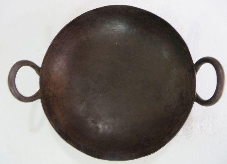 OLD Vintage Asian Iron Kadai Bowl Fire pit Kitchen collectibles home decor