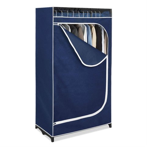 Blue portable wardrobe. Zipper, see through window and easy to use.