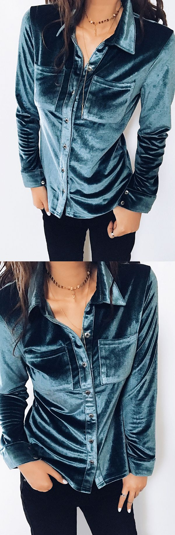 $34.99 Chicnico Boho Chest Pocket Blue Long Sleeve Blouse all fashion trend shop online store travel causal outifit