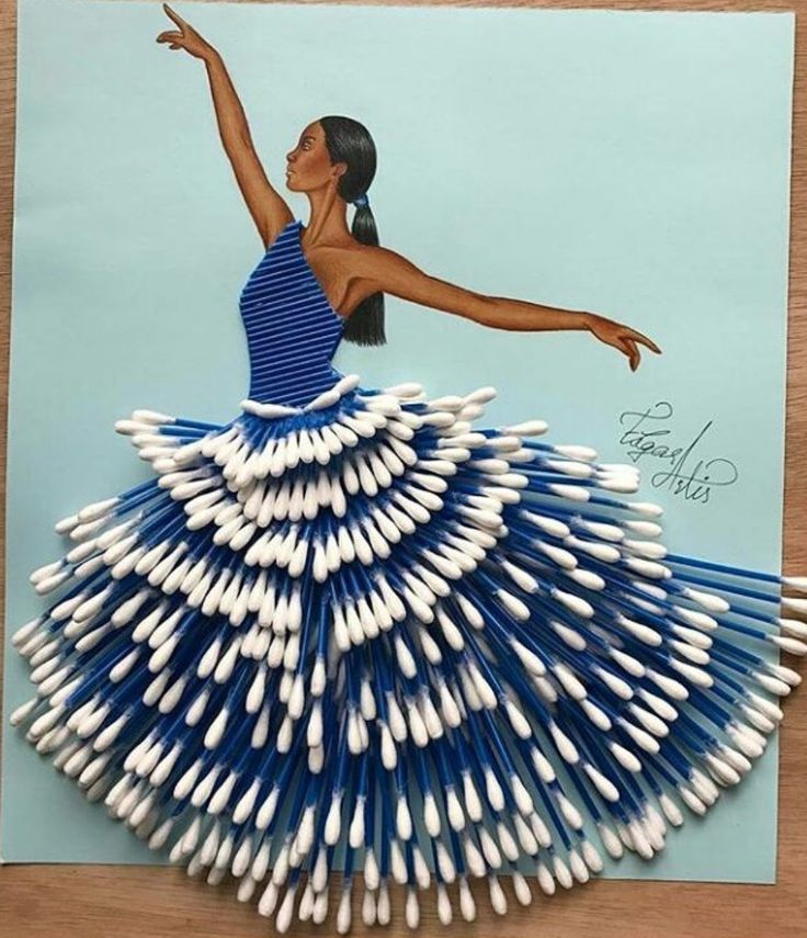 'Cotton Swab Couture'- Made with over 300 Cotton Swabs by @edgar_artis #FashionIllustrations| Be Inspirational❥|Mz. Manerz: Being well dressed is a beautiful form of confidence, happiness & politeness