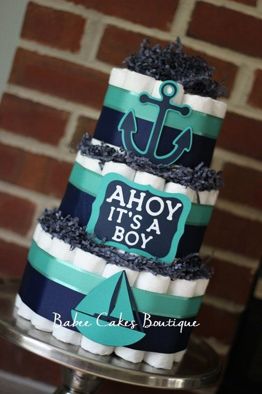 3 Tier Navy and Teal Nautical Diaper Cake by BabeeCakesBoutique