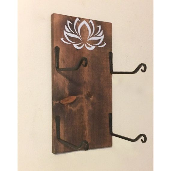 Yoga Mat Holder - Yoga Gift - Yoga Accessory - Yoga Decor - Lotus - Namaste -  Double Mat Holder - Workout Organizer - Workout Room - Yoga R